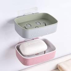 【3只装】浴室免打孔 强力粘贴 肥皂盒 创意沥水卫生间壁挂式免打孔笑脸双层大号皂架托香皂盒