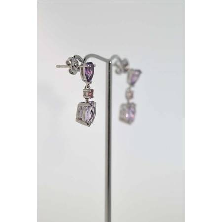 The Library 紫晶, 粉红电气石, 浅玫瑰色紫晶 耳环 925银