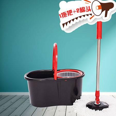 馨晶 旋转拖把桶拖布双驱动好神拖免手洗懒人地拖瓷砖木地板拖地墩布家用吸水拖把 黑色塑料篮