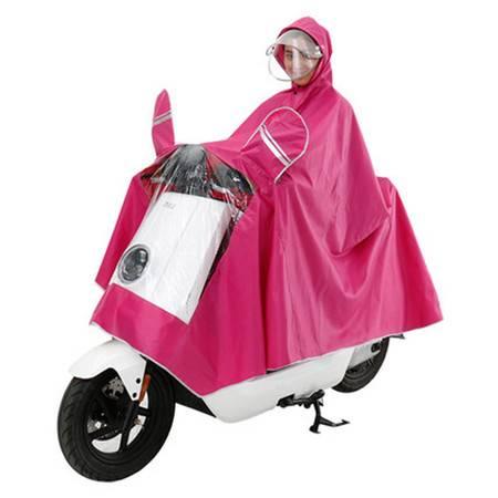 电动摩托车雨衣成人双帽檐雨披男女单人骑行加大雨衣