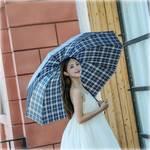 雨伞男女士通用格子伞加固加大三折伞学生折叠晴雨伞【颜色随机】