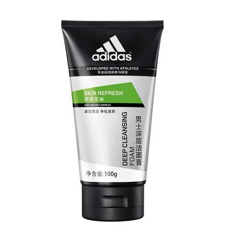 阿迪达斯(Adidas)洗面奶男士护肤学生劲透控油深层清洁洁面膏100g