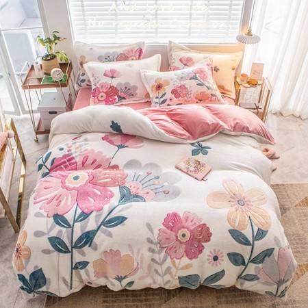 梦绚 人气款 保暖雪花绒四件套保暖加厚床品套件床笠床单款1.5/1.8M(四件套)