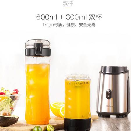 美的(Midea)榨汁机便携双杯迷你果汁机 不锈钢机身 家用榨汁杯料理机搅拌机WBL2501A