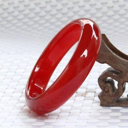 刘金福 天然巴西5A级红玛瑙手镯女玉镯子红色手镯玉髓玛瑙贵妃镯子女款送证书
