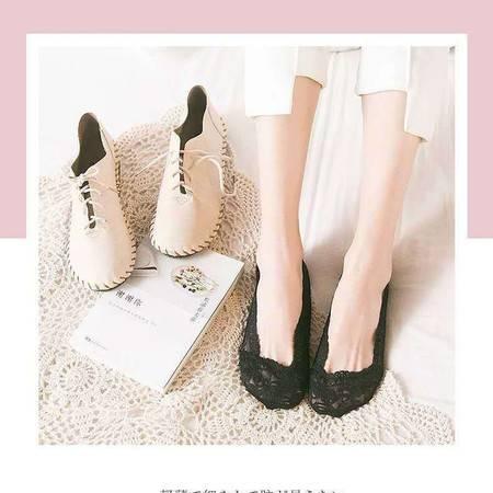 【俞兆林】5双袜子女夏季女士浅口花边蕾丝袜硅胶防滑性感棉底隐形袜