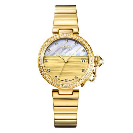 宾爵送礼手表网红镀金钢带瑞士进口石英镶钻女表