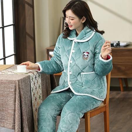 南己&寐 冬天睡衣女加厚家居服套装棉衣保暖中老年法兰绒冬季夹棉睡衣 墨绿熊猫
