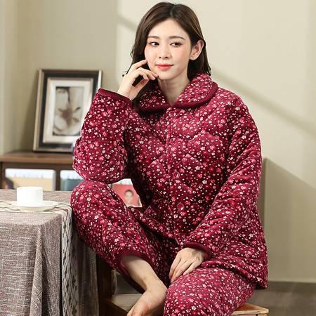 南己&寐 冬天睡衣女加厚家居服套装棉衣保暖中老年法兰绒冬季夹棉睡衣红色花朵