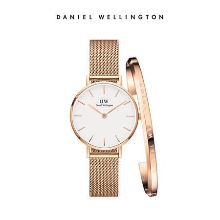 Daniel Wellington DW女表手镯套装 女表DW00100219+大号金手镯