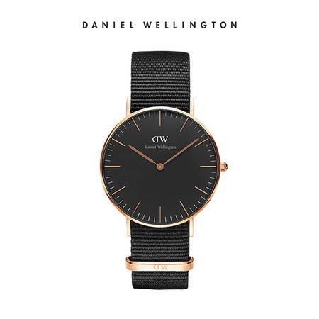 Daniel Wellington DW女表36mm黑表盘金色边织纹表带 DW00100150