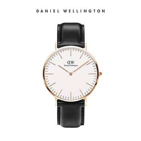 Daniel Wellington DW男表40mm白表盘金色边皮革表带 DW00100007