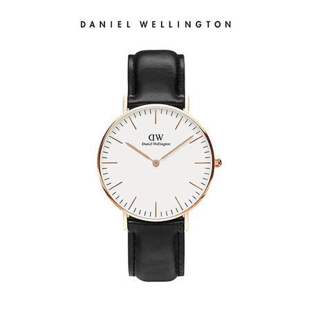 Daniel Wellington DW女表36mm白表盘金色边皮革表带 DW00100036