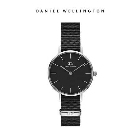 Daniel Wellington DW女表28mm黑表盘银色边织纹表带 DW00100248