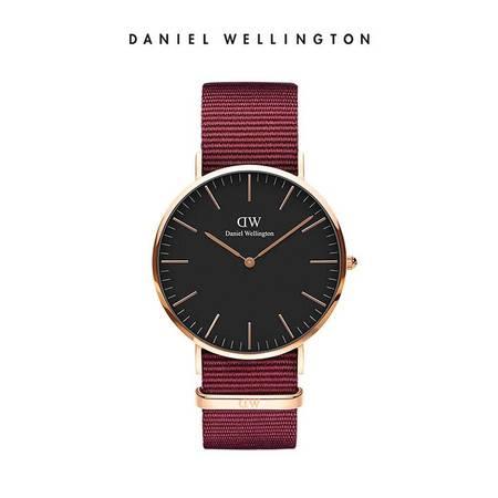Daniel Wellington DW男表40mm黑表盘金色边织纹表带 DW00100269