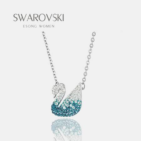 Swarovski 施华洛世奇2019秋冬新款 蓝色渐变蓝天鹅大号 水晶项链5512095