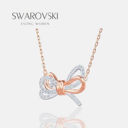 Swarovski/施华洛世奇19新玫瑰金色浪漫蝴蝶结女项链5440636