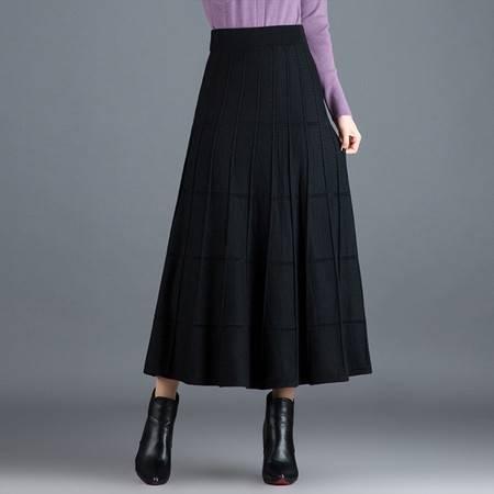 怡蓝  针织大摆半身裙中长款毛线裙女秋冬季新款高腰显瘦A字裙冬天裙子