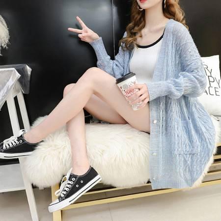 怡蓝 外搭开衫女薄款中长款新款春秋夏季宽松镂空半透淡彩色线针织外套