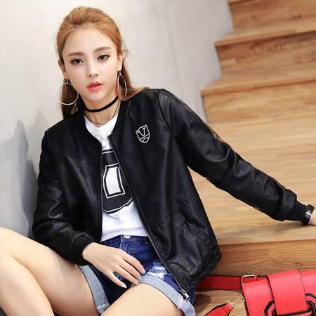 怡蓝 小皮衣女短款2019秋装款韩版修身棒球服网纱拼接小个子皮夹克