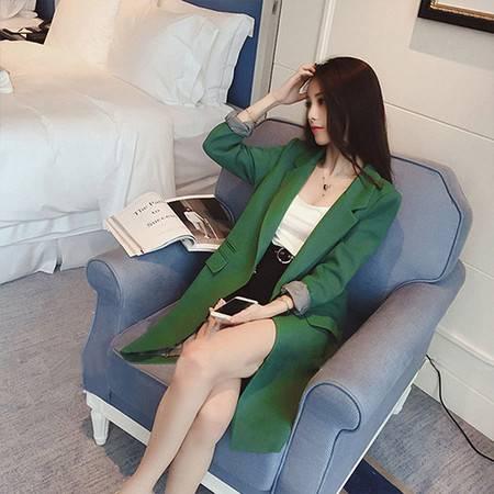 怡蓝  新款西装女中长款修身开叉小西服2019秋季韩版外套女装显瘦长袖