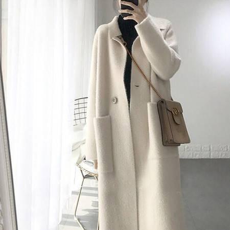 怡蓝 秋冬季很仙上衣外套女装中长高档仿水貂绒大衣毛衣女开衫宽松潮