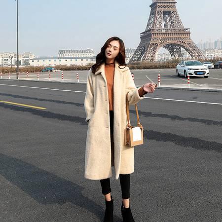 怡蓝 2019年新款女装秋季宽松显瘦仙女纯色气质韩版毛呢外套中长款潮