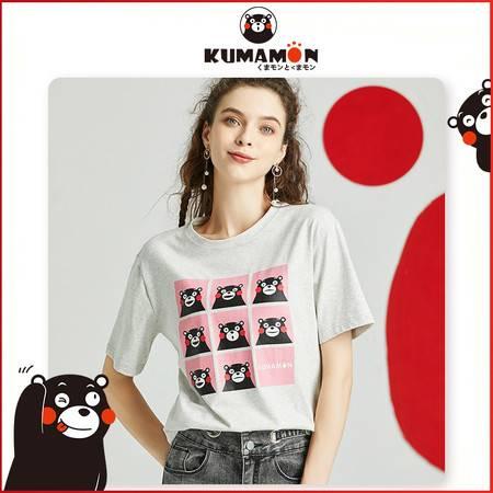 HELLO KOMA 熊本熊20年夏季情侣款上衣萌熊系列表情包印花圆领短袖T恤KM20DT009