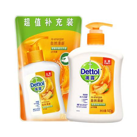 【苏宁专供】滴露(Dettol)健康抑菌洗手液自然清新500g送300g补充装