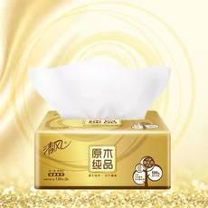 清风原木金装抽纸3层130抽抽取式卫生纸餐巾纸3包