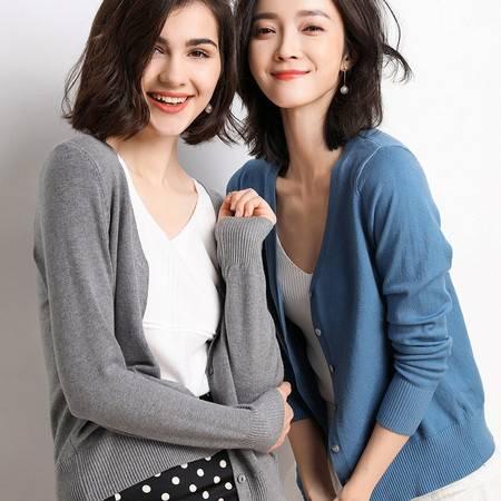 2019秋季新款女装韩版短款时尚针织开衫毛衣女纯色百搭气质外套
