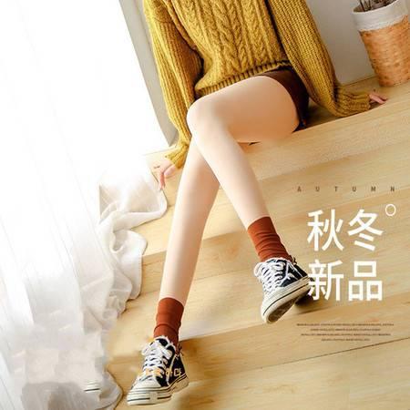 光腿神器秋冬拼接丝袜日韩双层假透肉堆堆袜裸感加绒美腿打底袜女