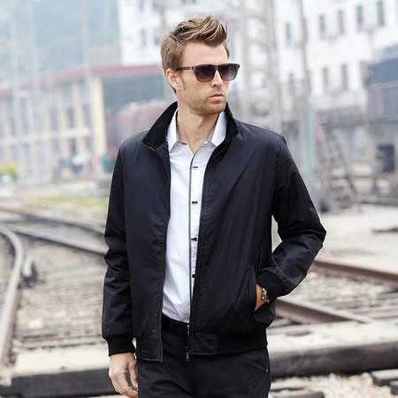 男式男士夹克休闲修身薄秋装时尚外套男装厂家批发中老年立领夹克