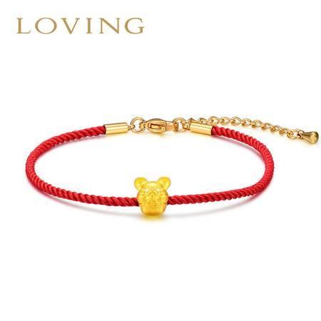 LOVING\爱在此时 黄金转运珠手链 3D硬金磨砂足金老鼠红绳 本命年十二生肖鼠手串 女友礼物自戴
