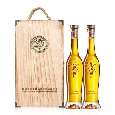 花深里  茶籽油鲜榨山茶油精美木质礼盒月子油健康食用油两瓶装木盒