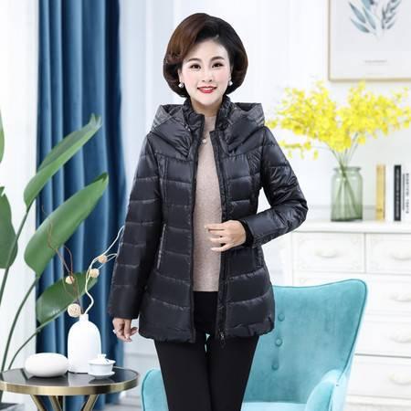 雪暖 品牌中年轻薄羽绒服女中长款简约修身显瘦收腰妈妈装xn2220