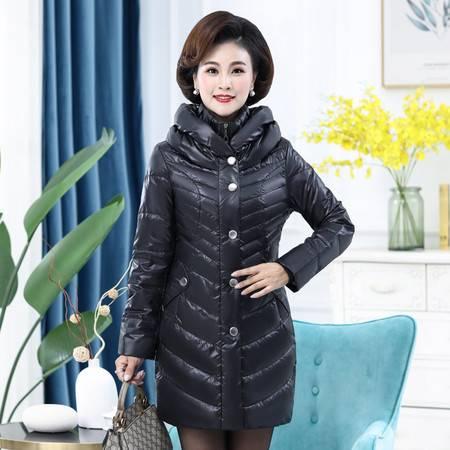 雪暖品牌秋冬新款轻薄中年妈妈羽绒服女中长款收腰修身显瘦xn2108