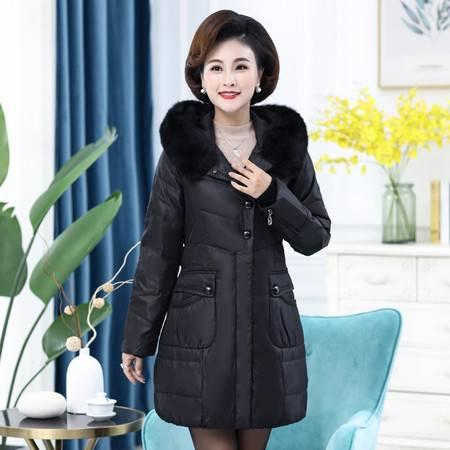 雪暖 秋冬新款狐狸毛羽绒服女中长款韩国加厚修身显瘦收腰外套2380
