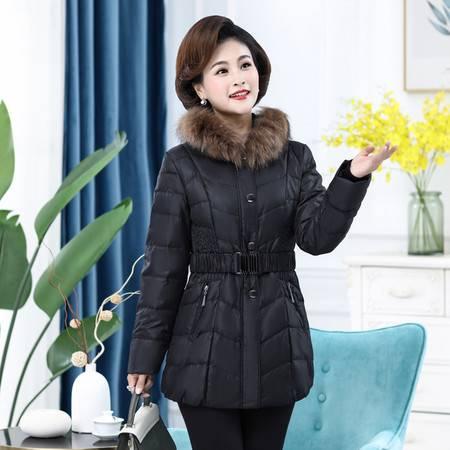 雪暖 秋冬新款大码羽绒服女中长款韩国修身显瘦收腰外套xn2388