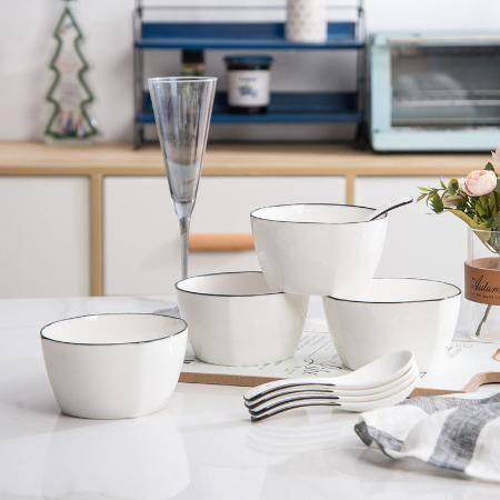 【48小时内发货】家用碗套装陶瓷餐具组合可爱卡通日式碗创意网红吃饭米碗汤碗带勺