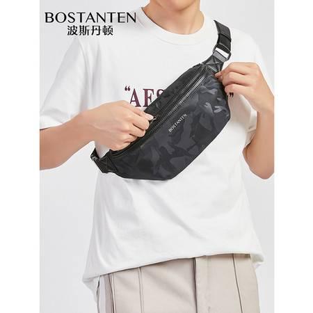 波斯丹顿胸包男夏季男女同款ins潮牌帆布运动学生青年单肩斜挎包休闲小背包