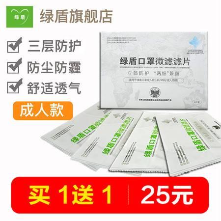 绿盾口罩滤片PM2.5滤片 儿童滤芯成人女男均码防尘透气4片盒装