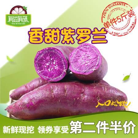 【领券第2份半价】山东紫罗兰紫薯5斤装 新鲜地瓜软糯蜜山芋现挖小番薯紫心红薯蔬菜有滋有菋包邮