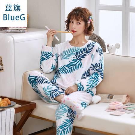 蓝旗 秋冬季加厚加绒睡衣女士秋冬款圆领可爱法兰绒家居服套装图片