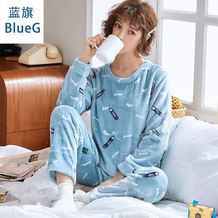 蓝旗 秋冬季加厚加绒睡衣女士秋冬款圆领可爱法兰绒家居服套装