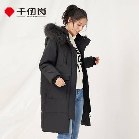 千仞岗 韩版加厚中长款羽绒服女冬长款过膝大毛领廓形外套