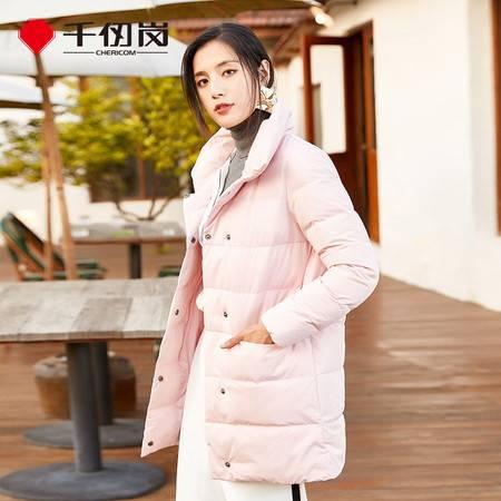千仞岗中长款羽绒服女时尚纯色翻领加厚冬外套