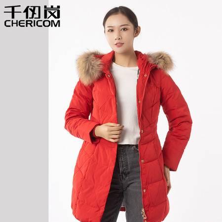 千仞岗秋冬品牌羽绒服女中长款修身显瘦韩版貉子大毛领外套