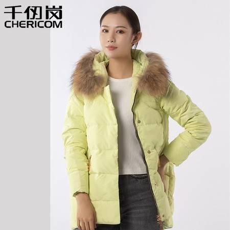 千仞岗秋冬貉子大毛领女士羽绒服女中长款加厚外套