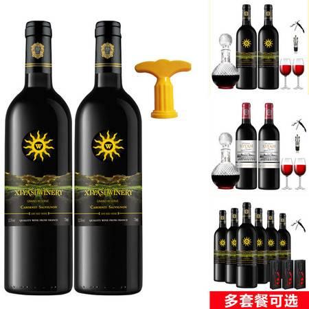 法国波尔多原酒进口红酒整箱赤霞珠干红葡萄酒礼盒送酒具
